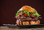 picture of hamburger-steak  - Delicious hamburger on wooden background - JPG