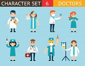 image of nursing  - Doctor Nurse Characters Madical Icon Set Symbol with Accessories on Stylish Background Flat Design Concept Template Vector Illustration - JPG