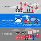 foto of petroleum  - Petroleum horizontal banner set with oil extraction transportation and production platform elements isolated vector illustration - JPG