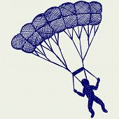 pic of parachute  - Man jumping with parachute - JPG