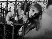 foto of madman  - Zombie woman  in the old cemetery in the fog - JPG