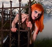 image of madman  - Zombie woman with fiery hair in the old cemetery in the fog - JPG