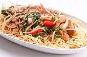 stock photo of chow  - healthy home made chicken chow mein or chow mien with crispy noodles - JPG