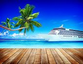 Summer Seascape Skyline Cruise Sea Route Destination Concept poster