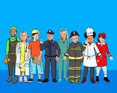 image of cabin crew  - Children Kids Dream Jobs Diversity Occupations Concept - JPG