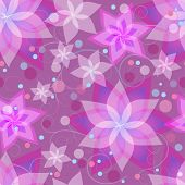 picture of day-lilies  - Beautiful ornamental background seamless pattern with pink and purple summer flowers lilies circles and swirls - JPG