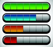 stock photo of meter  - Horizontal Progress Loading Bars - JPG