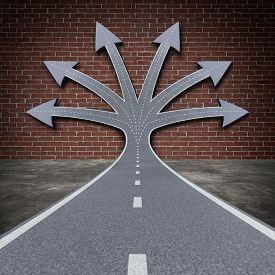 picture of transformation  - Obstacle solution direction business concept as a road facing a brick wall transforming into a group of arrow paths to overcome the adversity as a do not give up metaphor for persistent achievement success motivational symbol - JPG