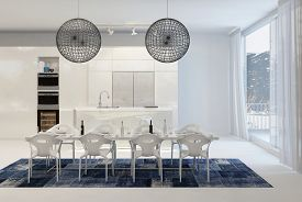 image of light fixture  - Modern Dining Table with Wire Globe Light Fixtures in White Kitchen with Large Windows - JPG