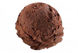 picture of ijs  - Scoop of dark chocolate ice cream on white background - JPG