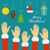 Hands of the people in Santa costumes are drawn to the Christmas poster