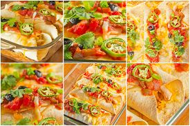 pic of enchiladas  - Variety of angles of enchilada casserole in Mexican food collage - JPG