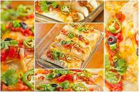 foto of enchiladas  - Variety of angles of enchilada casserole in Mexican food collage - JPG