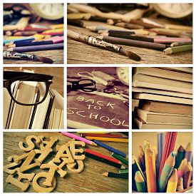 foto of pencils  - collage of some pictures of different details of a retro school desk full of colored pencils and books - JPG