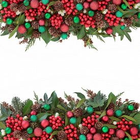pic of greenery  - Christmas background border with red bauble decorations - JPG