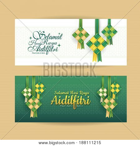 poster of set of hari raya aidilfitri banner design vector ketupat with islamic pattern as background translation fasting day of celebration