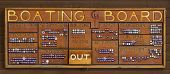 picture of ares  - The boating board at boy scout camp showing the progress of all of the campers by their campground ares  - JPG