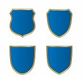 Постер, плакат: Shield Gold Blue Icons Set Shape Emblem