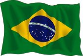 Waving flag of Brazil isolated on white