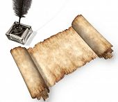 Roll of parchment ink pot and writing quill medieval still-life isolated white background