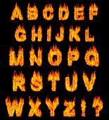 Burning alphabet letters illustration isolated on black background