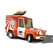 picture of ice-cream truck  - Carton style ice cream truck turning a quick curve - JPG