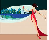 stock photo of debauchery  - vector illustration of stranger girl in red evening dress - JPG