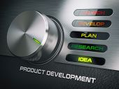 Product developmend cycle concept . Knob with stages of product development. Idea. 3d illustration poster