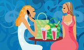 picture of debauchery  - image of two talking women in cafe - JPG