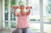 Happy senior woman exercising with dumbells at home poster