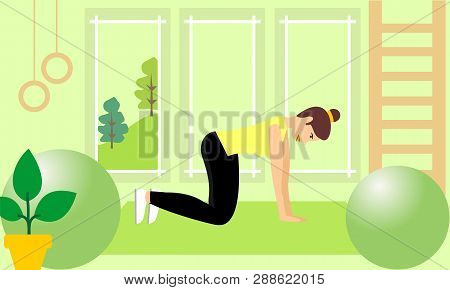 poster of Young Fitness Sporty Girl Doing Exercises During Training Workout, Stretching In A Fitness Studio. B