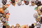 Lollipop Candy Background, Confectionery Design Concept. Chocolate Cookies, Marshmallows, Caramel Ca poster
