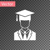 White Male Graduate Student Profile With Gown And Graduation Cap Icon Isolated On Transparent Backgr poster