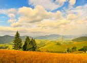 Countryside. View Of Autumn Countryside In Mountains poster