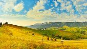 Autumn Countryside. Fleecy Sky Above Autumn Countryside poster
