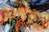 Colored Dry Wilted Flowers Roses In A Bouquet In Cellophane In A Pile Of Garbage poster