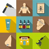 Tattoo Salon Icons Set. Flat Set Of 9 Tattoo Salon Icons For Web With Long Shadow poster