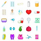 Personal Doctor Icons Set. Cartoon Set Of 25 Personal Doctor Icons For Web Isolated On White Backgro poster