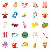 Entertainment For Kid Icons Set. Cartoon Set Of 25 Entertainment For Kid Icons For Web Isolated On W poster