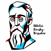 Nikolai Rimsky-korsakov Engraved Vector Portrait With Ink Contours. Russian Composer, And A Member O poster