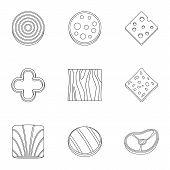 Kitchen Sliced Product Icon Set. Outline Set Of 9 Kitchen Sliced Product Icons For Web Isolated On W poster