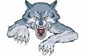 Gray Wolf Suitable As Logo For Team Mascot, Wild Wolf Drawing Sketch, Wolf Mascot Graphic, Vector Gr poster