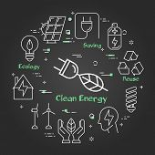 Vector Linear Illustration Of Clean Energy - Plug With Tree Leaf - As Alternative Energy Source. Web poster