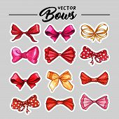 Bow Hand Drawn Vector Stickers Illustrations Set. Realistic Red Patch, Golden, Pink And Purple Ribbo poster