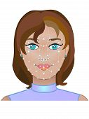 Face Id. Technology Face Detection. Face Of A Girl With Dots And A Grid To Determine The Face. poster