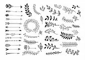 Set Of Hand Drawing Page Dividers Borders And Arrow, Doodle Floral Design Elements poster