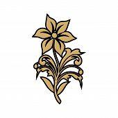 Graphical Golden Flower Vector  Illustration. Golden Flower, Contour Flower, Bloom Flower, Decorativ poster