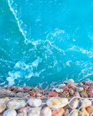 Sea Aerial View. Sea Stones In The Sea Water. Pebbles Under Water. The View From The Top. Nautical B poster