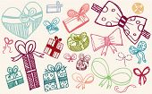 doodle set - presents and ribbons