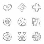 Kitchen Sliced Vegetables Icon Set. Outline Set Of 9 Kitchen Sliced Vegetables Icons For Web Isolate poster